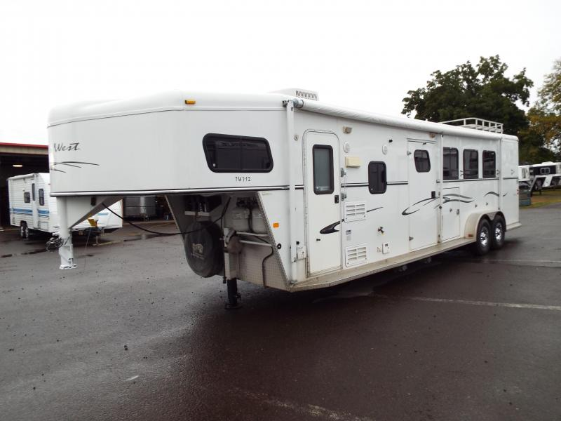 2005 Trails West Sierra 7' x 12' Living Quarter w/ Angled Mid Tack 3 Horse Trailer - Manger on First Stall - Aluminum Hay Rack -  PRICE REDUCED
