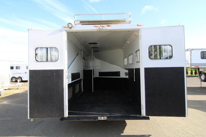 2005 Trails West Sierra 7' x 12' Living Quarter w/ Angled Mid Tack 3 Horse Trailer - CHECK OUT THIS TACKROOM - Aluminum Hay Rack -  PRICE REDUCED $4900