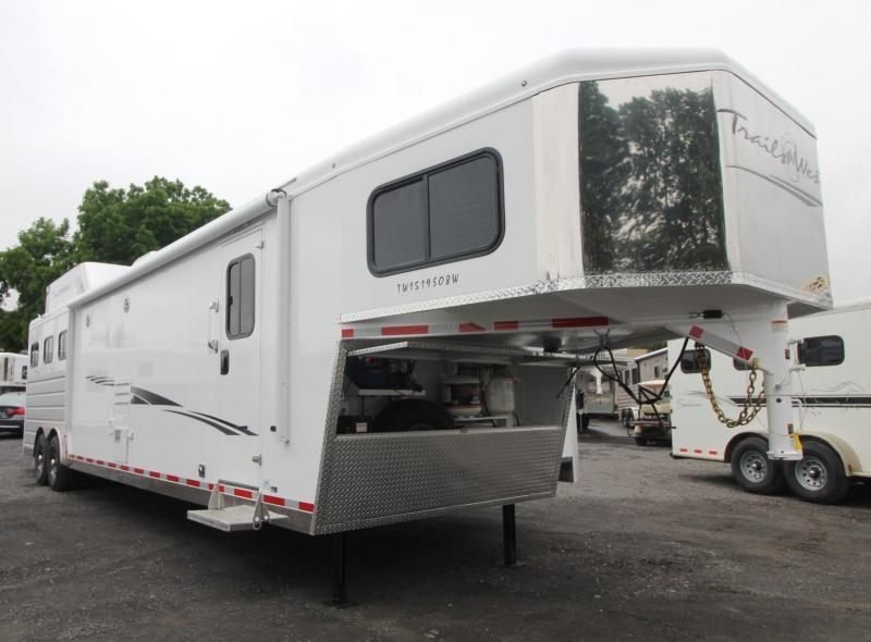 2020 Trails West Sierra 15x19 3 Horse Trailer - Easy Care Flooring - Fold Down Bunk Bed - Hayrack - Generator Ready - Hoof Grip Flooring