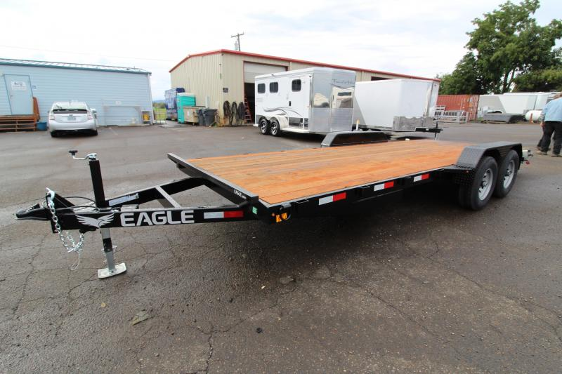 2020 Eagle 7x20 Tandem axle Flatbed Trailer - 10k - 2 Stabilizer jacks - 5' Heavy stored ramps - HD diamond plate fenders