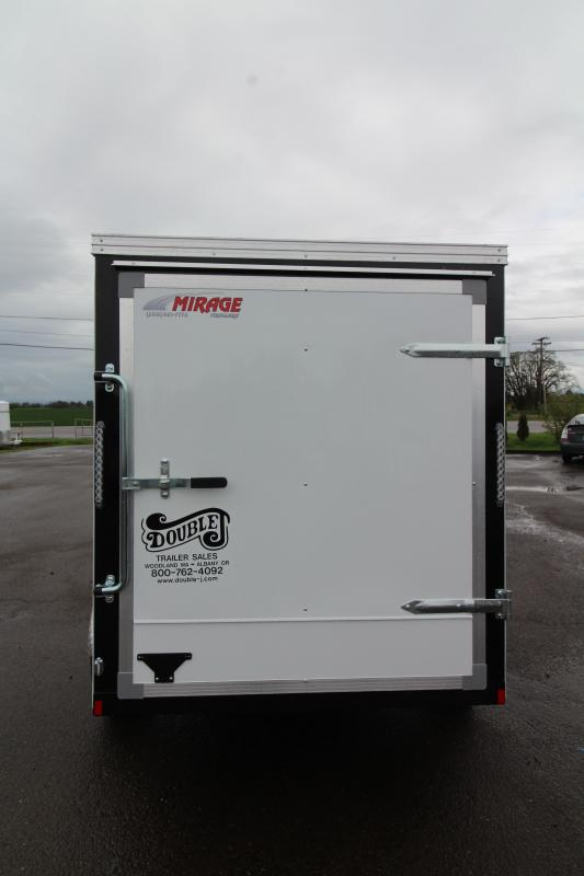2019 Mirage Xpres 5' x 8' SA Utility Trailer- White Exterior- Rear Single Swinging Door- Xtra Package - Flat Roof - V Nose PRICE REDUCED