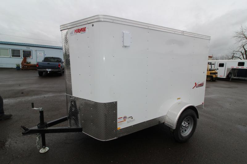 2019 Mirage Xpres 5' x 8' SA Utility Trailer- White Exterior- Rear Single Swinging Door- Xtra Package - Flat Roof - V Nose