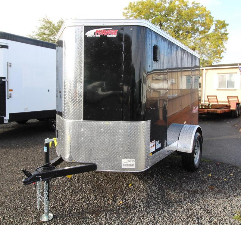 2020 Mirage Xpres 5x8 Enclosed Cargo Trailer - Xtra package - Upgraded rear ramp door - V nose - Flat roof