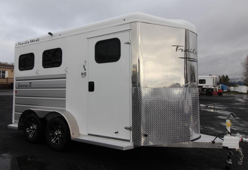 "2019 Trails West Sierra II 2 Horse Trailer - 7'6"" Tall - PRICE REDUCED - Drop Down Feed Doors - Aluminum Skin"