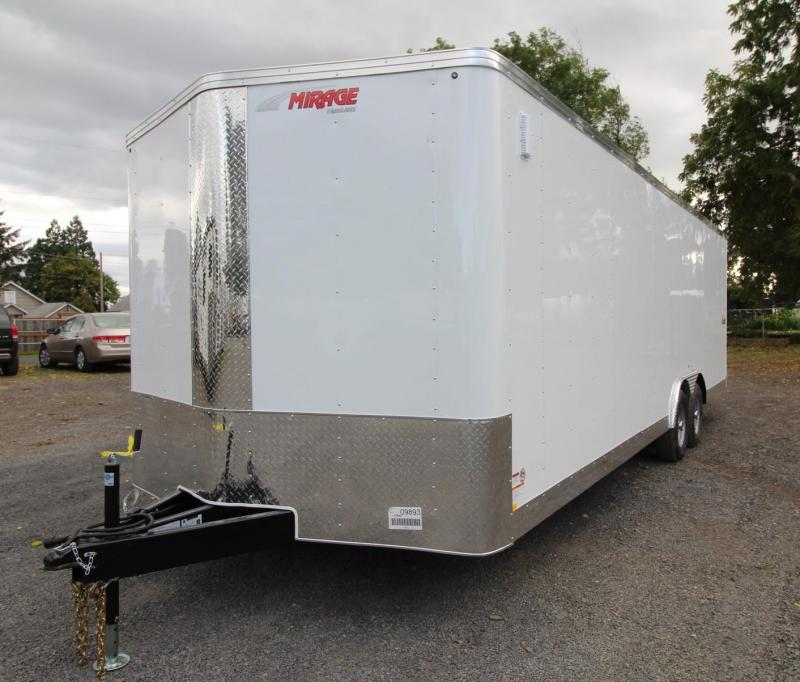 2020 Mirage Xpres 8.5x24 Car Hauler Trailer - Car carrier package - Spare tire and mount - Crystal white exterior skin - Rear ramp door - Beavertail