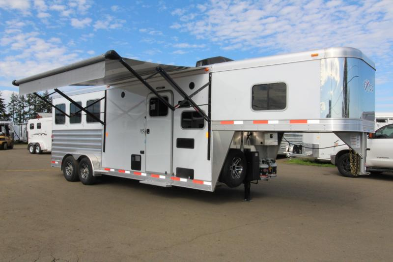 NEW 2019 Exiss Escape 7308 3 Horse 8' Short Wall L.Q. Trailer - All Aluminum - Power Awning - Sofa - Easy Care Flooring - PRICE REDUCED