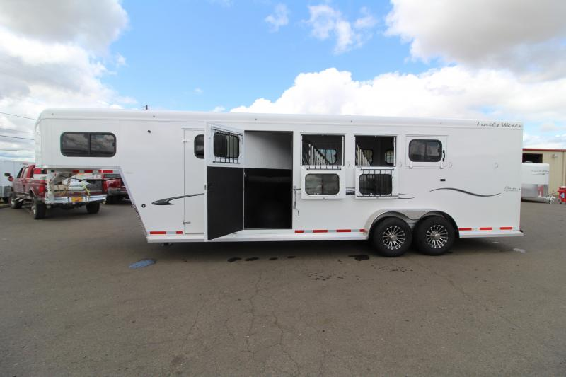 """2020 Trails West 4 Horse Classic Super Tack - 7'6"""" Tall - Side Escape Door - CHECK OUT THIS TACK ROOM!!"""