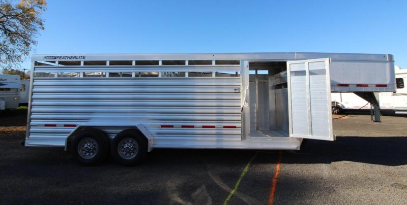 2020 Featherlite 8117 - 20' Livestock Trailer PRICE REDUCED - Rear Sort Door - Center Divider Gate - Storage Space in Gooseneck