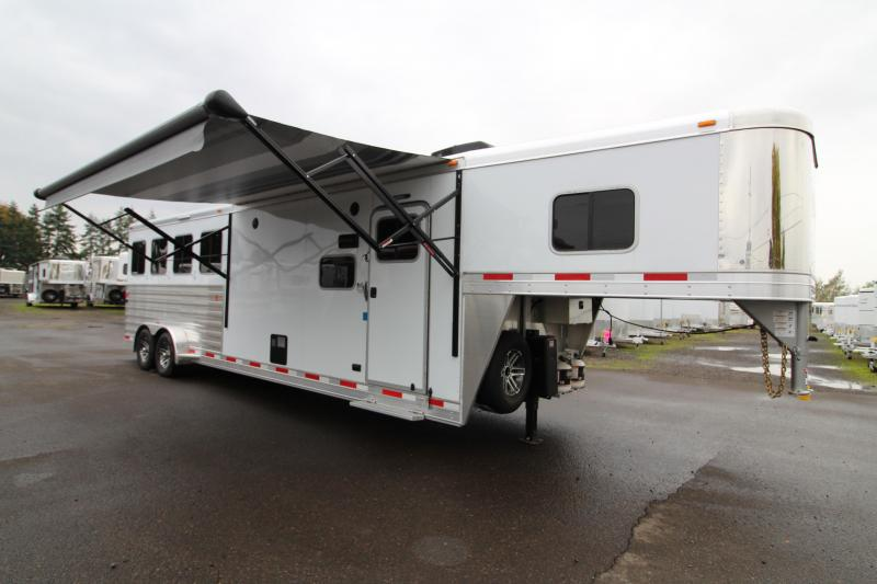 NEW 2018 Exiss 7410 10' SW L.Q. - 4 Horse All Aluminum -  Electric Awning - Easy Care Floor - Upgraded Airflow Dividers - PRICE REDUCED BY $2450