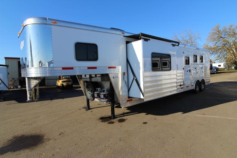 NEW 2019 Exiss 8314 - 3 Horse 14' Short Wall Living Quarters w/ Slide-out - GENERATOR - All Aluminum - Power Awning - Mangers - Easy Care Flooring - Lined and Insulated Horse Area Ceiling  PRICE REDUCED $3000