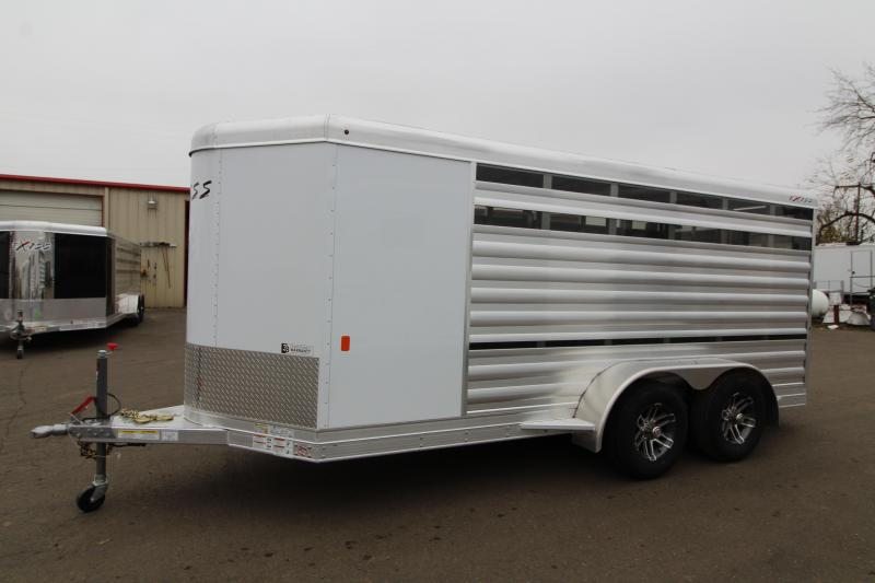 2020 Exiss Exhibitor mini combo 615A Livestock Trailer - All aluminum construction - Full swing rear gate - Full swing center gate -  Curbside access door