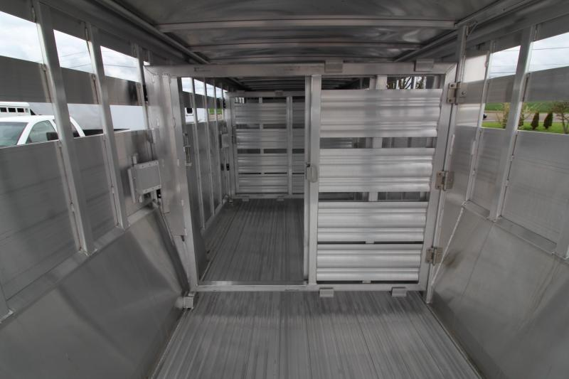 "NEW 2019 Featherlite 8127 Livestock Trailer- All Aluminum 24ft long 7'6"" Wide - Two Center Gate with Slider Sort Doors"