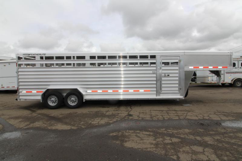 "NEW 2019 Featherlite 8127 Livestock Trailer- All Aluminum 24ft long 7'6"" Wide - Two Center Gate with Slider Sort Doors"