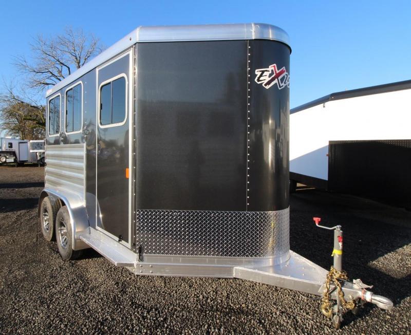 2020 Exiss Express XT 2 Horse Aluminum Trailer Upgraded Metallic Charcoal Easy Care Flooring
