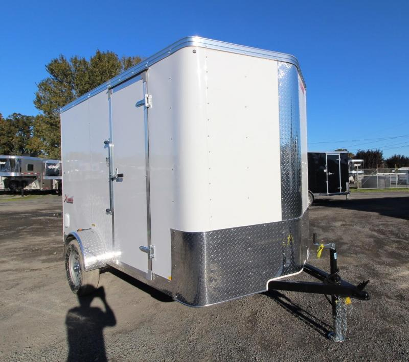 2020 Mirage Xpres 6x10 SA V Nose Enclosed Cargo Trailer - Xtra package - Barlock curbside mandoor - Rear ramp door - V nose - Flat roof
