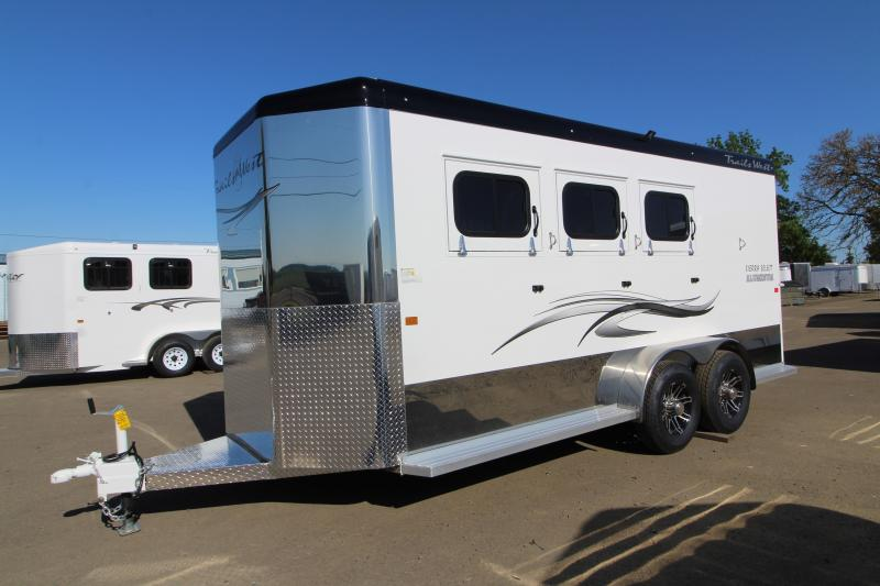 "2020 Trails West Sierra Select 3 Horse Bumper Pull Trailer - Vacuum Bonded Aluminum - UPGRADED Added Height 7'6"" Tall - Swing Out Saddle Rack"