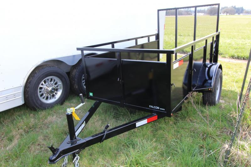 """NEW 2019 Eagle Falcon 4' x 8' Single Axle Utility Trailer - 2"""" x 6"""" Fir Decking -  Front Fender Step -  24"""" Solid Metal Sides - 4' Ramp 1500# - J-Hooks- Sealed Beam LED Lights PRICE REDUCED BY $200"""