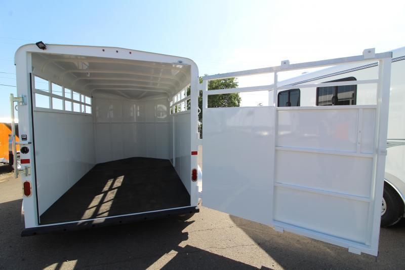 2020 Thuro-Bilt Wrangler 13' Livestock Trailer - Single Wall Construction - Curbside Escape Door - Floor Mats - Single Rear Door