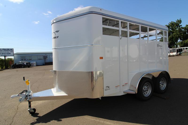 2020 Thuro-Bilt Wrangler 13' Livestock Trailer - Single Wall Construction - Curbside Escape Door - Floor Mats - Single Rear Door