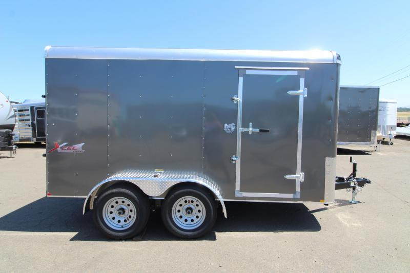 2020 Mirage Xcel 7' x 12' Enclosed Cargo Trailer - Tandem Axle - Rear Ramp  - Charcoal Exterior Color - Domed Roof - Radius Front