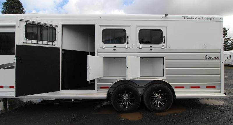 NEW 2019 Trails West Sierra 8' x 13' w/ Slide - 3 Horse Living Quarters Trailer - UPGRADED EASY CARE FLOORING - Mangers - Escape Door - Stud Wall - Power Awning