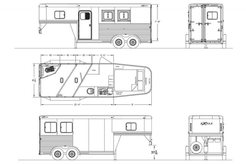 NEW 2019 Exiss Escape 7204 - PRICE REDUCED $2500 - 4' Short Wall Living Quarters 2 Horse Trailer - Lined and Insulated Ceiling - Easy Care Flooring - All Aluminum
