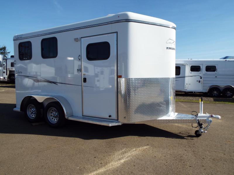 2020 Thuro-Bilt 2 Horse Liberty Horse Trailer- Warmblood Sized Stalls - Swing Out Saddle Rack - Water Tank