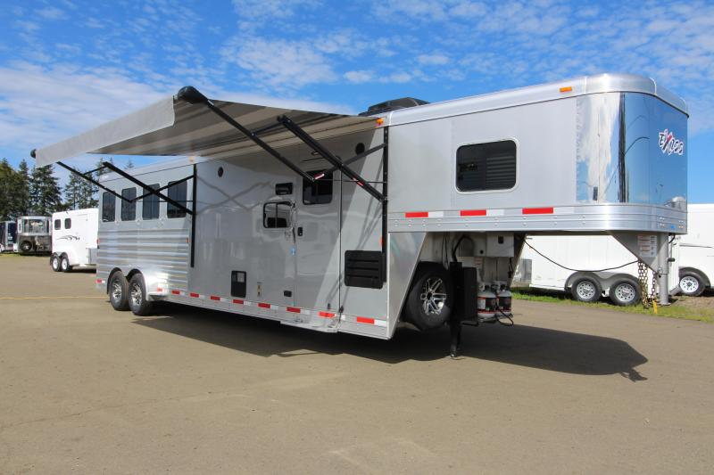 NEW 2019 Exiss 7410 - 10' Short Wall L.Q. with Slide-out 4 Horse All Aluminum Trailer - Easy Care Flooring Upgrade - Upgraded Interior - Dinette - Metallic Gray Exterior Skin PRICE REDUCED $3000