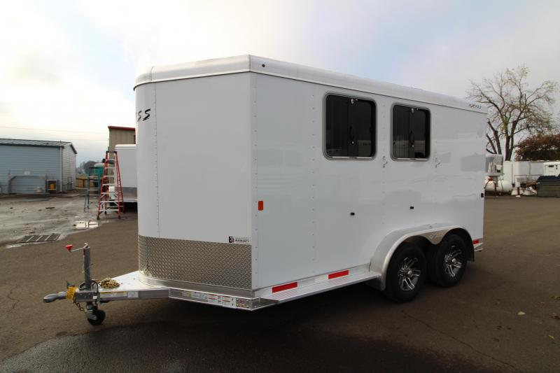 2020 Exiss 720 2 Horse Trailer - Drop Down Feed Windows - All Aluminum Construction - Lined and Insulated