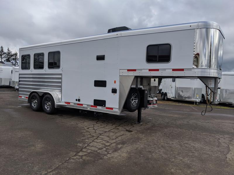 2020 Exiss 7304 LQ Horse Trailer- Power Awning-Easy Care Flooring-All Aluminum Construction - Single Piece Roof -  Side Escape Door - Drop Down Feed Doors