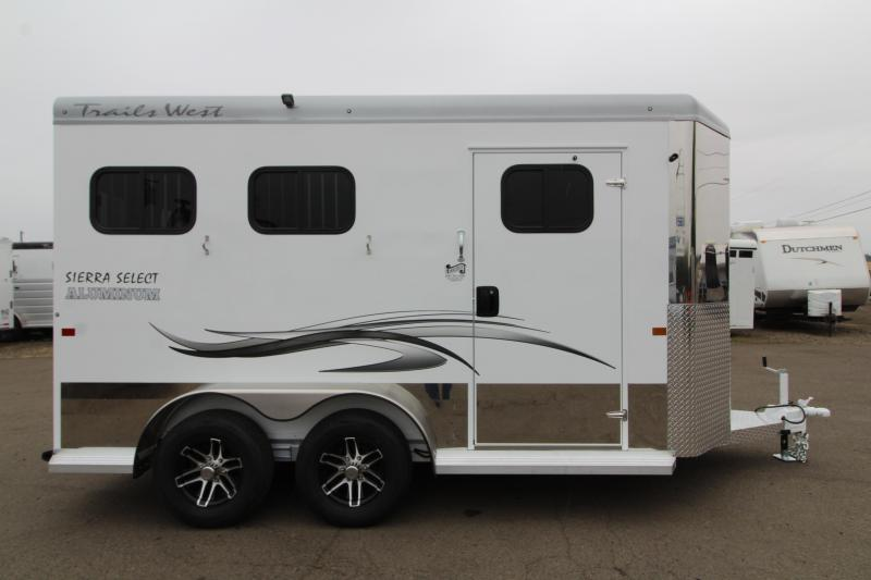"""2020 Trails West Sierra Select 2 Horse Bumper Pull Trailer - UPGRADE - 7'6"""" Tall  - Vacuum Bonded Aluminum Construction - Fully Lined and Insulated"""