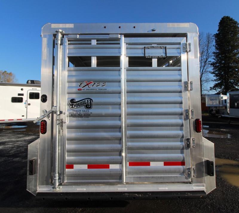 2020 Exiss Trailers 713 - 13' Livestock Trailer - Escape Door - Sliding Sort Door - Center Divider