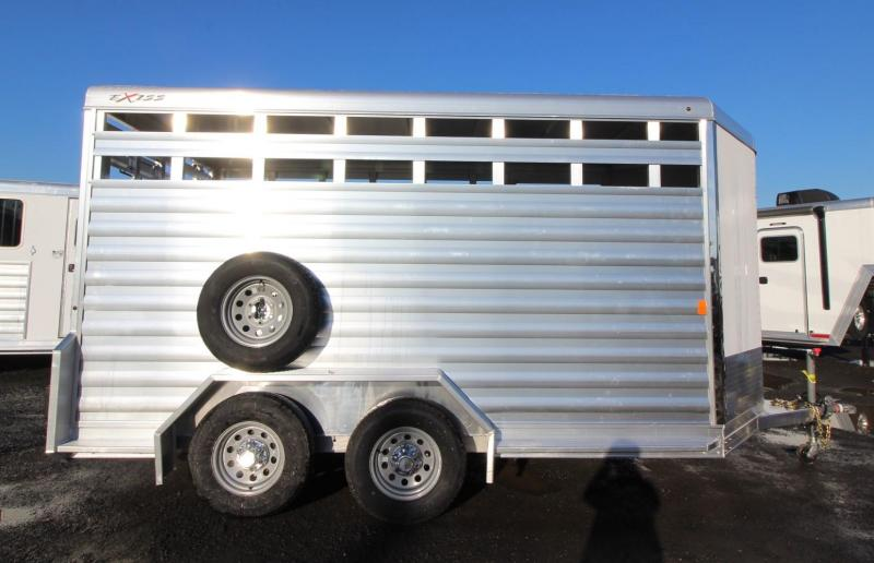 2020 Exiss Trailers 713 - 13' Livestock Trailer - Escape Door - Sliding Sort Door - Center Divider