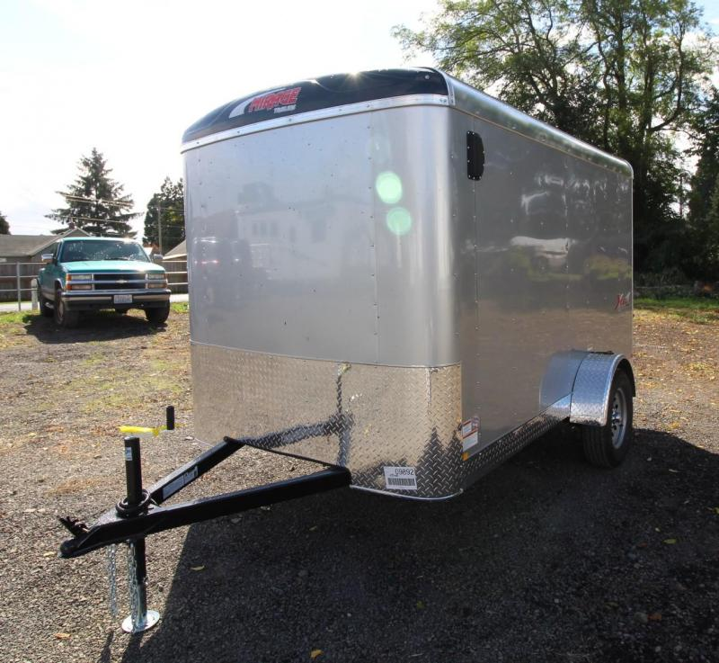 2020 Mirage Xcel 6x10 SA Enclosed Cargo Trailer - Domed roof - Radius front - Curbside barlock mandoor - Grey exterior