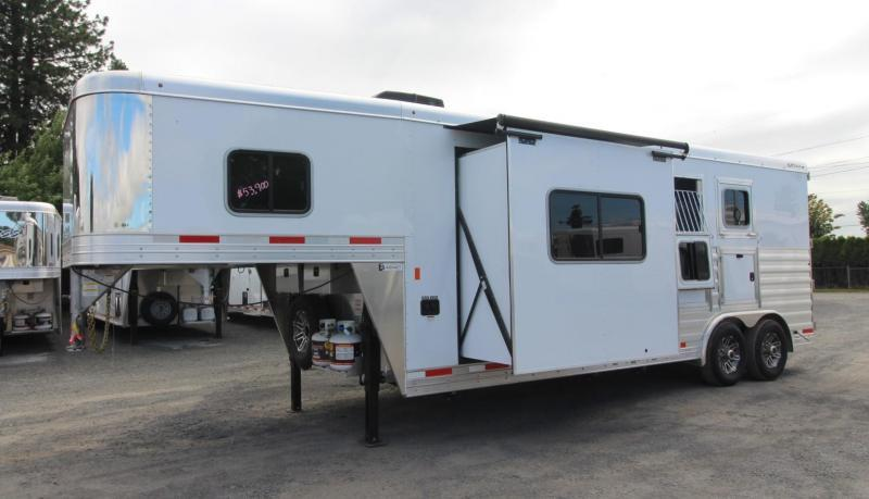 2019 Exiss Trailers 8210 - 10' Short Wall Living Quarters w/ Slide-out 2 Horse Trailer - All Aluminum - Swing-out Saddle Rack - Easy Care Flooring - Lined and Insulated Horse Area Ceiling - Upgraded Interior  PRICE REDUCED $6000