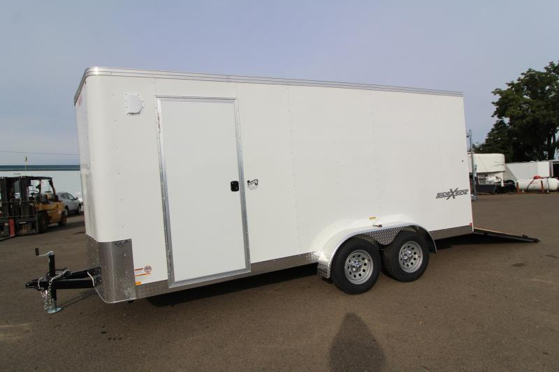 2020 Mirage Xpres 7' x 16' Side by Side Trailer - Side by Side package - Rear Ramp Door - Crystal White Exterior - Extended Height - V Nose - Flat Roof