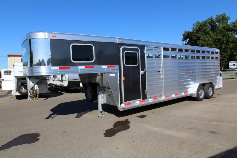"NEW 2019 Exiss 7024 Stock Combo - 4' Enclosed Tack Room - All Aluminum Livestock Trailer - 7'2"" Tall - Solid Center Divider Gate - Rear Gate with Slider PRICED REDUCED $650"