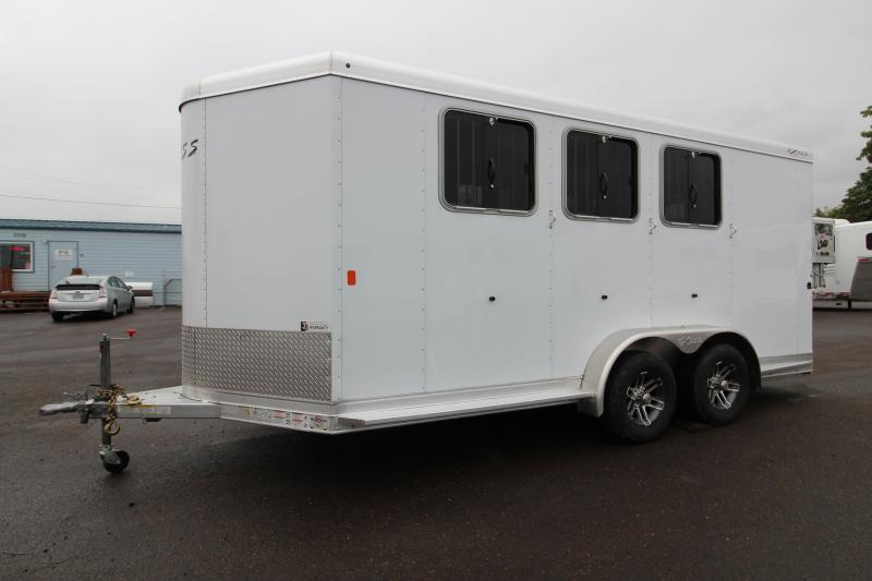 2020 Exiss 730 - 3 Horse Trailer - Easy Care Flooring - White Exterior - All Aluminum Construction - Large Front Tack Room - Folding Rear Tack