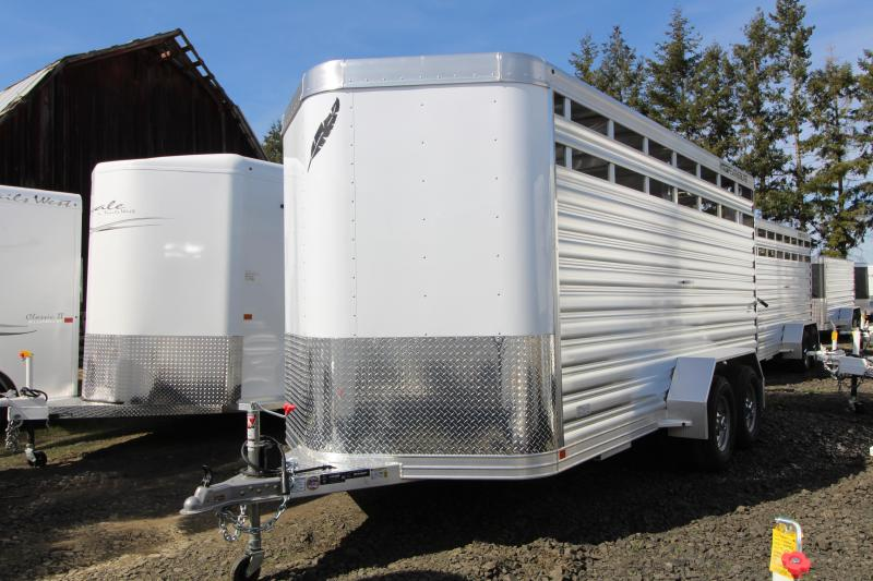 NEW 2019 Featherlite 8107 16 Bumper Pull Stock Trailer - All Aluminum - Slider in Rear Gate - Solid Center Gate - 7' Tall