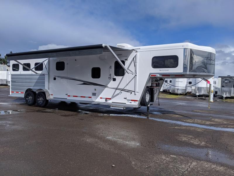 2020 Trails West 12' x 12' LQ 3 Horse Trailer - Easy Care Flooring - Side Tack-Slide Out - Power Awning Upgrade - Lined and Insulated Horse Area - Escape Door  - Stud Divider