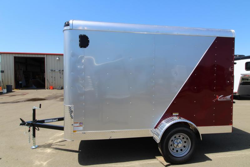 NEW 2019 Mirage Xcel 6' x 10' Single Axle Enclosed Cargo Trailer- Rear Ramp Door- Two-tone Red and Silver Exterior- Passenger-side Bar Lock Door - Domed Roof - Radius Front PRICE REDUCED BY $200
