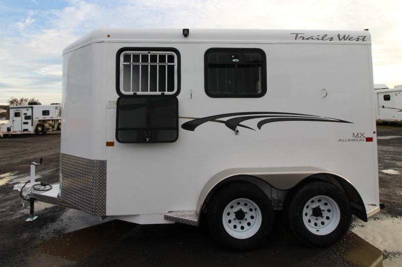 2020 Trails West Adventure MX II 2 Horse Trailer - Steel Frame Aluminum Skin - Conv. Pkg. - Rubber Floor Mats in Tack