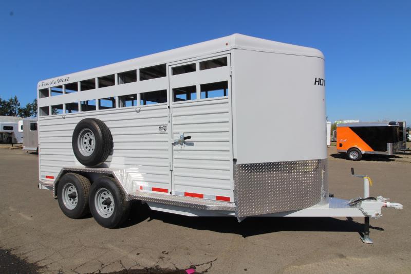2020 Trails West Hotshot 17 ft Steel Livestock Bumper Pull Trailer - LED Flood Light - Electric Brakes - Rubber Bumper - Electro- Galvanized Corrugated Steel Sides
