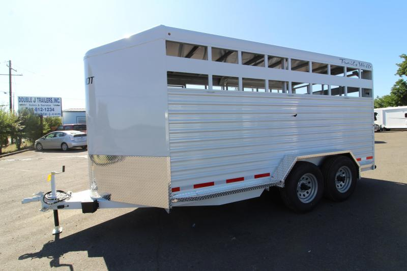 2020 Trails West Hotshot 17 ft Steel Livestock Bumper Pull Trailer - LED Flood Light - Electric Brakes - Rubber Bumper - Electro- Galvanized Corrugated Steel Sides