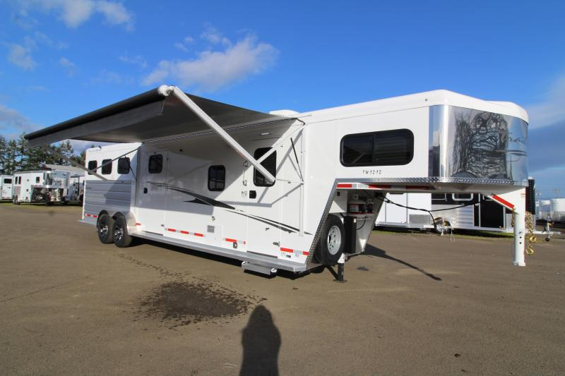 2020 Trails West Trails West Sierra 12x12 LQ Side Tack 3 Horse Trailer-Swing Out Saddle Rack- Hoof Grip Flooring-Couch- Escape Door