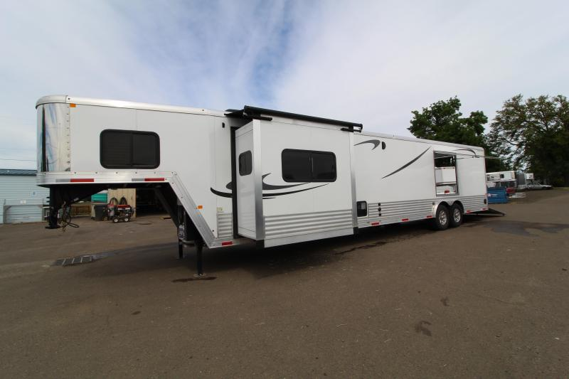 NEW Stunning 2019 Merhow - Car/ToyHauler-14' Living Quarters-20' Cargo Area-Fire Place-Escape Hatch-Rear Ramp-Bar-CHECK OUT THIS REAL WOOD INTERIOR