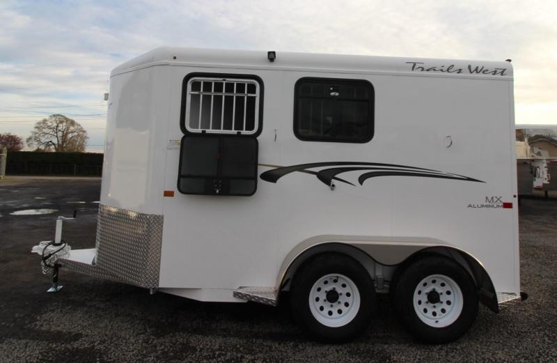 2020 Trails West Adventure MX II 2 Horse Trailer - Steel Frame Aluminum Skin - Conv. Pkg - Rubber Mats in Tack