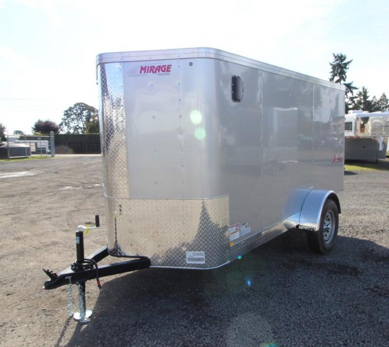 2020 Mirage Xpres 5' x 10' SA Xtra Package Enclosed Cargo Trailer- UPGRADED Rear Ramp Door -  Diamond Ice Exterior -  Silver MOD Wheels