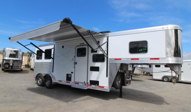2019 Exiss Trailers 7208 - 8' SW Living Quarters 2 Horse Trailer - Easy Care Flooring - All Aluminum PRICE REDUCED