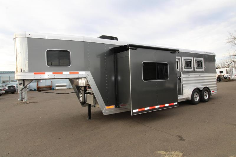 2020 Featherlite 7841 Model 3 Horse 10' SW LQ w/ Slide Out - Power Awning - Folding Back Tack - All Aluminum Construction